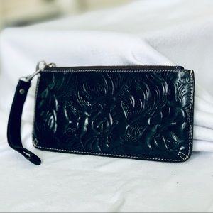 Patrica Nash BLK Flower Embossed  Wallet/Wristlet
